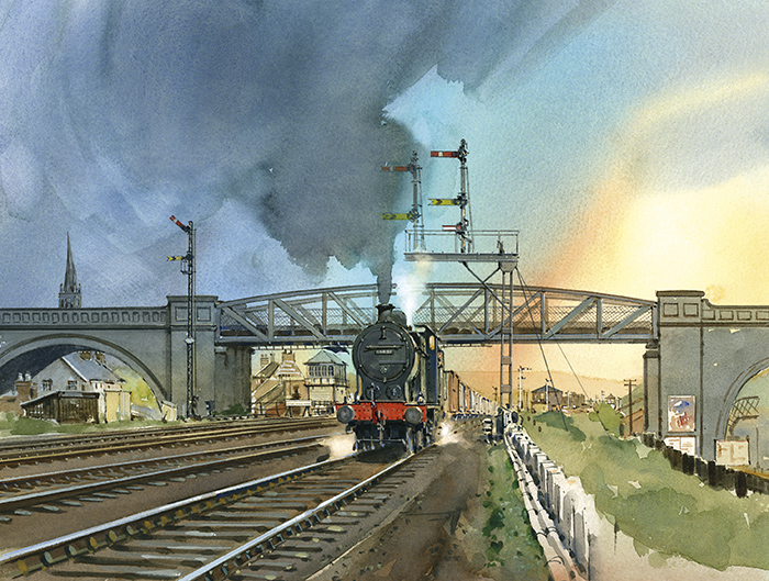 """Horns Bridge - 1950s Midland Freight Train"" by David Charlesworth"